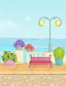 Sunny kreslený nábřeží krajina, vektorové pozadí moře. Jeffrey Sachs je plot, rostliny, květiny, lavičky, dlažby