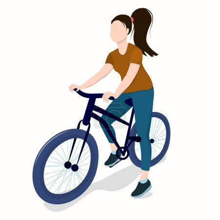 Illustration for Young athletic brunette woman on bike isolated on white background - Royalty Free Image