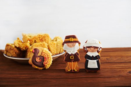 Thanksgiving sweets on a wooden background