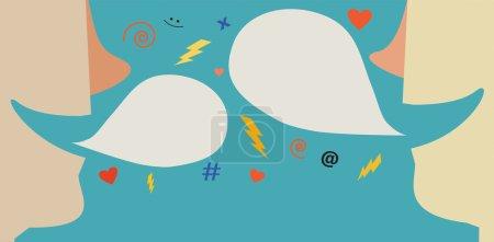 Illustration de deux personnes ayant une conversation avec bulles et symboles mignons