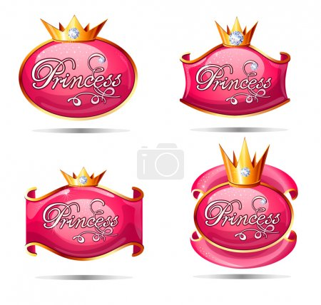 Princess shining symbols set.