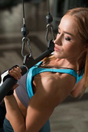 Photo for Strong woman doing exercises in gym - Royalty Free Image