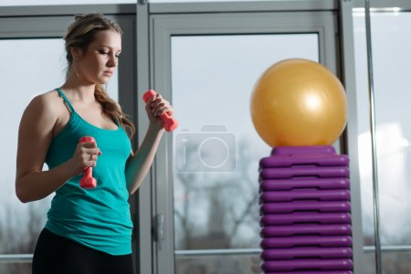 Photo for Beautiful sportswoman doing exercise with dumbbells in fitness center - Royalty Free Image