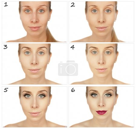 Training sequence applying makeup. Collage of a wo...