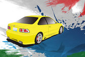 Yellow sports car on a colorful background