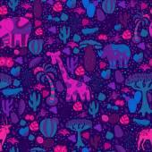 Cute Africa seamless pattern with wild animals from savanna