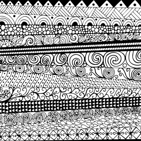 Hand drawn with ink background with doodles, flowers, circles. Vector pattern black and white illustration can be used for wallpaper, coloring book pages for kids and adults.