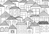 Hand drawn with ink background with a lot of houses homes with many windows Vector pattern black and white illustration can be used for wallpaper coloring book pages for kids and adults