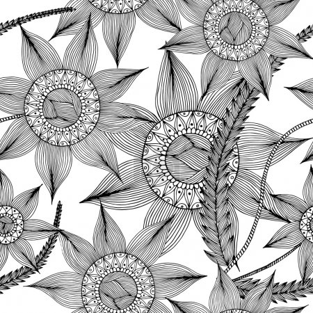 Hand drawn with ink seamless pattern background with abstract doodles, flowers, leaves. Vector pattern black and white illustration can be used for wallpaper, coloring book pages for kids and adults.