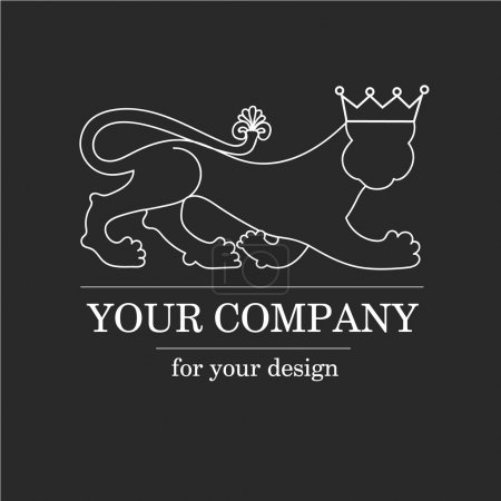 Silhouette animal lion, predator with crown - logo emblem template for business. Vector logotype template.