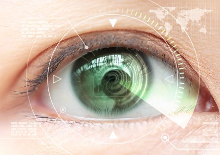 Close up women eye scanning technology in the futuristic, operat