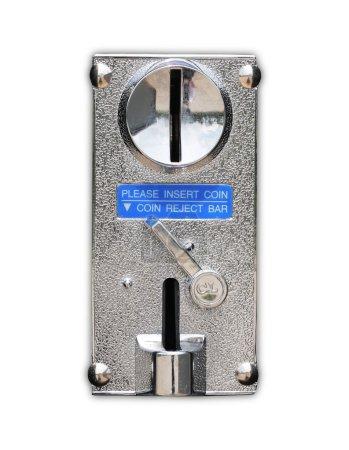 Close up metal coin slot of vending machine.