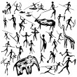 Set of vector rock paintings with scenes of huntin...