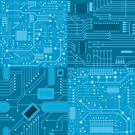 Illustration for Set of seamless textures computer board in blue colors - Royalty Free Image