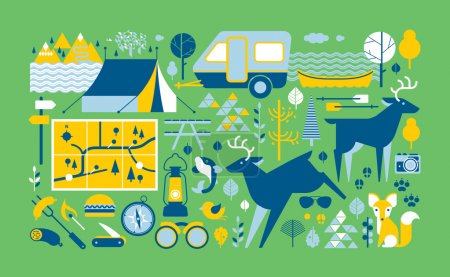 Illustration for Panoramic composition with camping and outdoor activities symbols. - Royalty Free Image