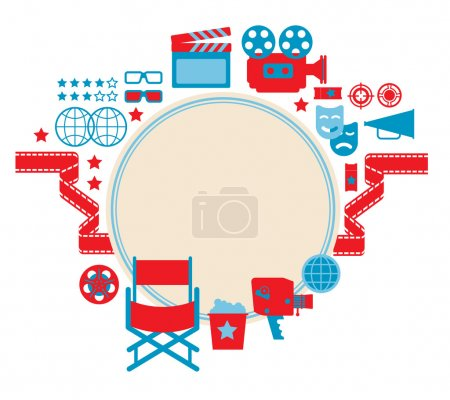 Illustration for Composition with blank space with cinema symbols and silhouettes. - Royalty Free Image