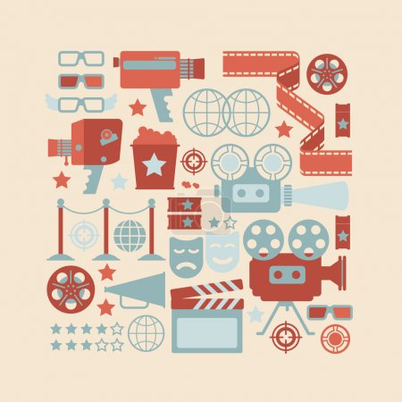 Illustration for Composition with cinema symbols in a shape square. - Royalty Free Image