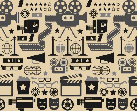 Illustration for Seamless background with cinema symbols and silhouettes. - Royalty Free Image