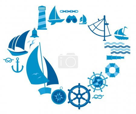 Composition with sailing symbols.
