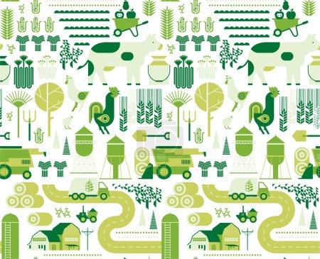 Illustration pour Fond sans couture avec des silhouettes agricoles et agricoles . - image libre de droit