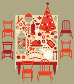 Composition with Christmas dinner table festive food and Christmas tree