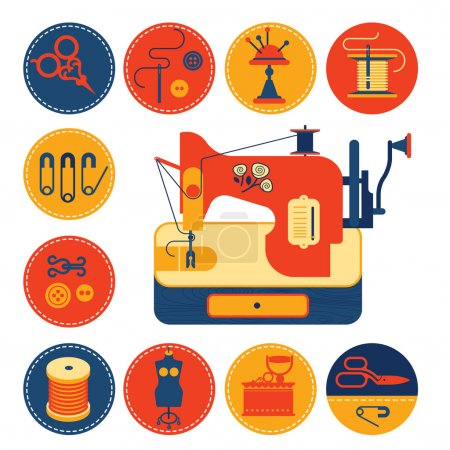 Illustration for Set of icons with sewing and tailoring symbols, detailed sewing machine illustration. - Royalty Free Image