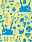 Background with gym symbols