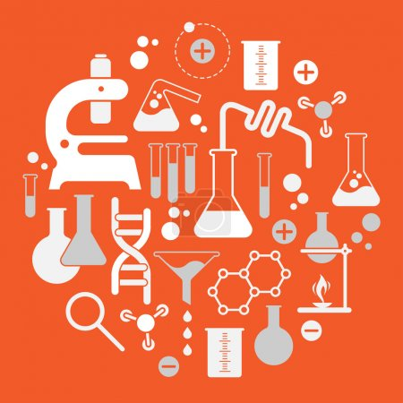 Illustration for Composition with chemistry symbols in a shape of circle. - Royalty Free Image