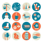 Icon set with winter activity silhouettes