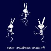 Cute and funny skeleton rabbit in different poses: activity dance yoga or gymnastic Drawing in cartoon style isolated on dark blue background Set of design elements Vector illustration