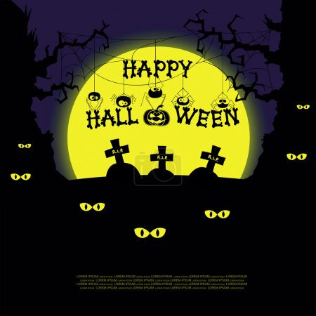 Halloween landscape with scary trees, spiders, graves and crosses on big yellow moon background. Vector
