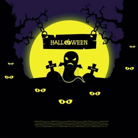 Halloween landscape with scary trees, ghosts, graves and crosses on big yellow moon background. Vector