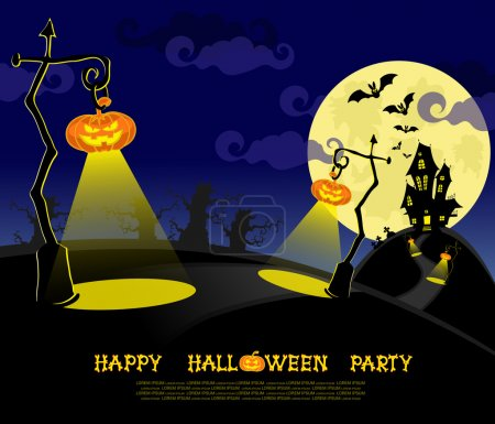 Halloween banner. Landscape with lamps from pumpkins, bats and scary house for party on big moon background. Vector