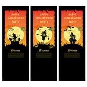 Set vector Halloween banner with pumpkins scary trees and house on orange gradient background