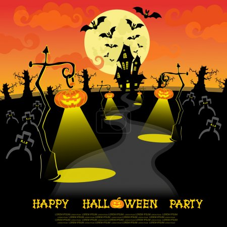 Halloween banner. Landscape with lamps from pumkins, bats and scary house for party on big moon background. Vector