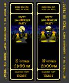 Set vector design ticket on a halloween party with pumpkins skeleton cat candles lamp house bats and spiders isolated