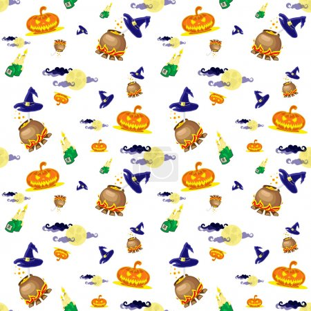 Seamless vector background with design elements: halloween pumpkins, candles, cauldron and moon isolated on white background
