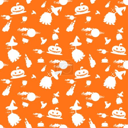 Seamless vector background with halloween pumpkins, candles, cauldron and moon isolated on orange background