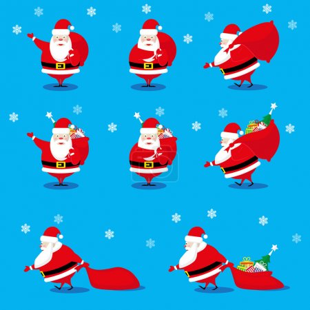 Vector set design elements funny Santa Claus different character with gifts bag isolated on blue background