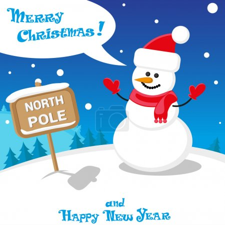 Vector banner funny Snow man in Santa Claus hat on North Pole and Merry Christmas hand drawn text