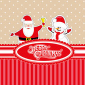 Vector banner Merry Christmas candy box with Santa Claus and snowman