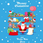 Vector banner Christmas shop wih Santa Claus and gifts toys dolls and present box isolated on blue background