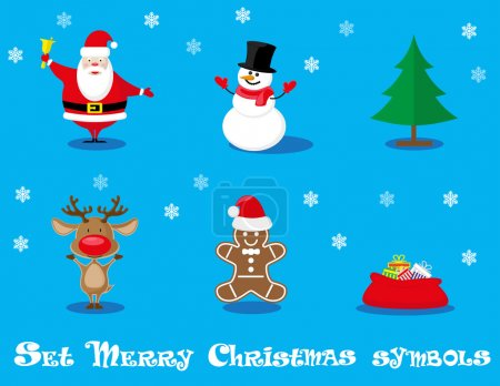 Vector set design elements funny Santa Claus, snowman, deer, gingerbread man, christmas tree, gift  isolated on blue background