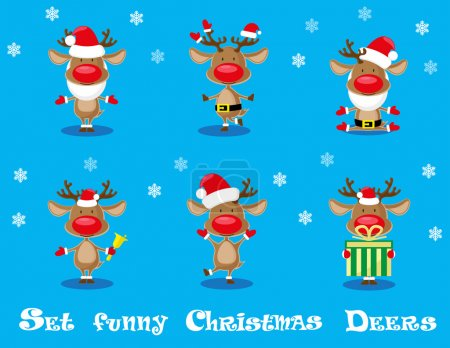Vector set design elements funny Santa's  deers, christmas bells and gift box isolated on blue background