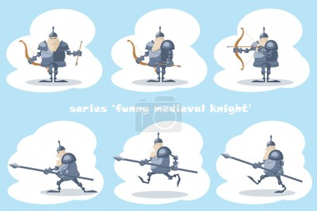 A set of vector shapes funny medieval knight with a spear in the hands and archer with arrow  isolated on white background