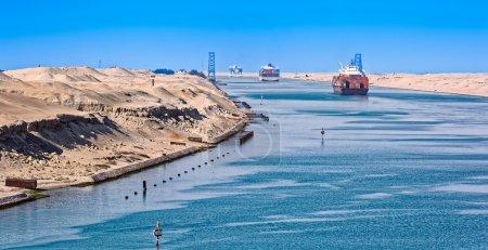Ship's convoy passing through Suez Canal...