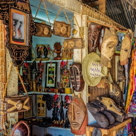 Photo for Close-up view to common African hanmade souvenirs and crafts in souvenir shop at Dar Es Salaam, Tanzania - Royalty Free Image