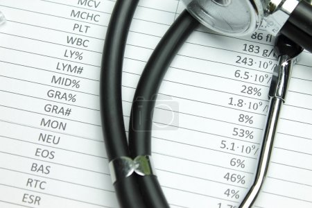 Photo for Black stethoscope and the result of general blood analysis - Royalty Free Image