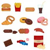 Set of colorful cartoon fast food icons on white background
