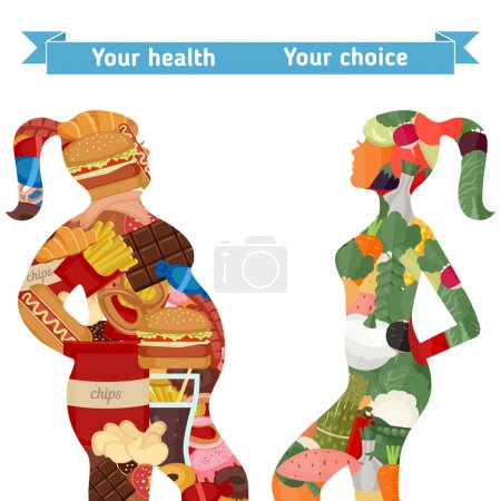 Healthy and unhealthy lifestyle concept.